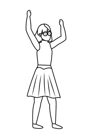human young woman body raised hands cartoon vector illustration graphic design