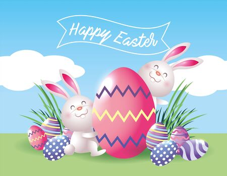 easter rabbits with eggs decoration and grass vector illustration