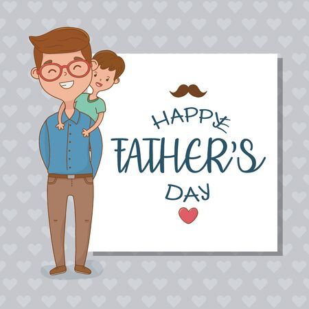father and son characters card vector illustration design Stock Illustratie