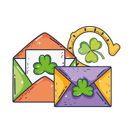 envelope with clover and horseshoe st patrick invitation vector illustration
