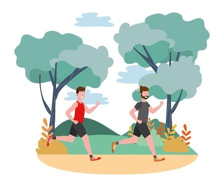fitness sport train men outdoor scene cartoon vector illustration graphic design  イラスト・ベクター素材