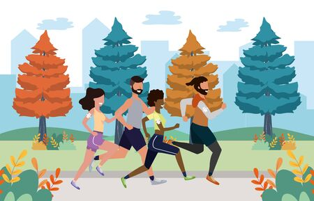 fitness sport train people running women with men cartoon vector illustration graphic design Illustration