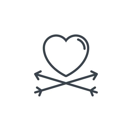 crossed arrows heart icon line design image illustration