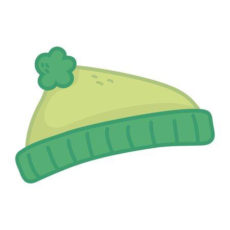 green warm hat on white background vector illustration Illustration