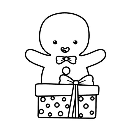 gingerbread man with gift decoration merry christmas vector illustration line style