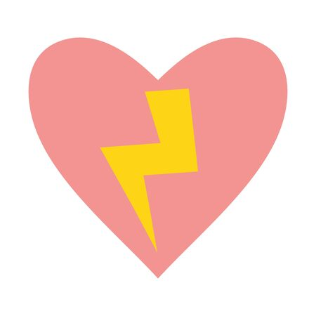 heart love with power ray pop art style vector illustration design