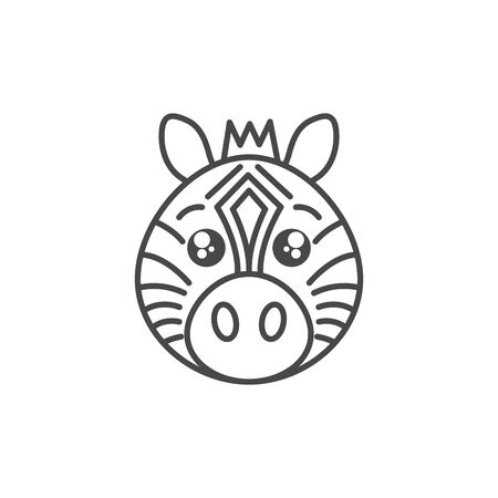 cute zebra wild animal line style icon vector illustration design