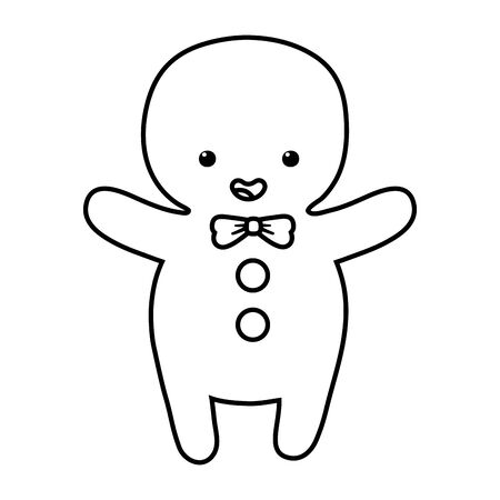 gingerbread man with bowtie decoration merry christmas vector illustration line style