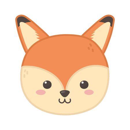 cute fox animal head on white background  イラスト・ベクター素材