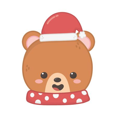 cute bear head with scarf and hat merry christmas  イラスト・ベクター素材