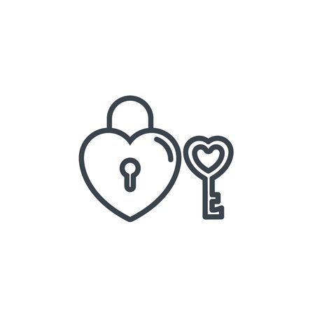 padlock and key love heart icon line design