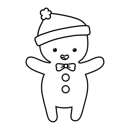 gingerbread man warm hat decoration merry christmas line style Ilustracja