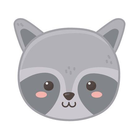 cute raccoon head animal on white background  イラスト・ベクター素材