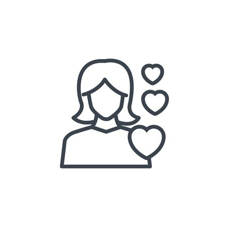 woman love hearts icon line design