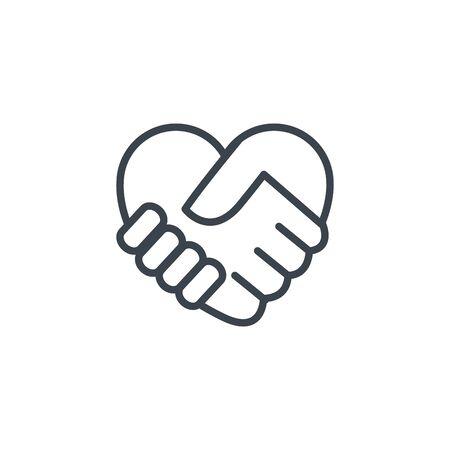 handshake shaped heart icon line design