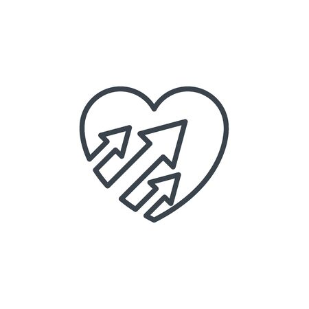 heart arrows up icon line design