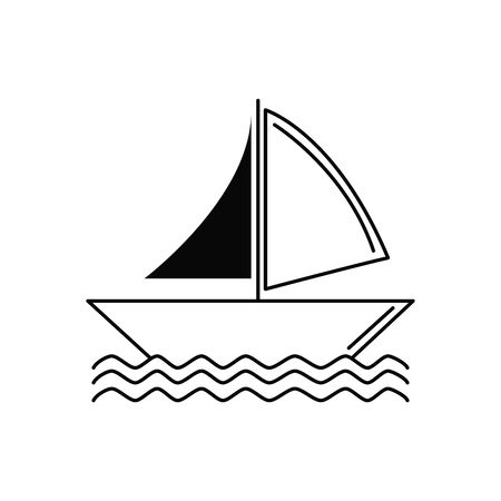 sailing boat illustration vacation travel icon line image design
