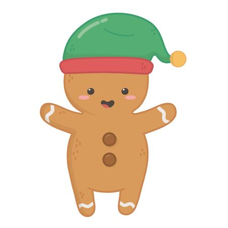 gingerbread man with green hat decoration merry christmas vector illustration