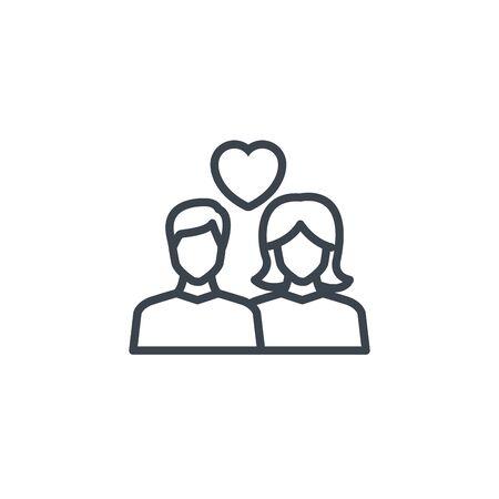 couple romantic love heart icon line design image illustration