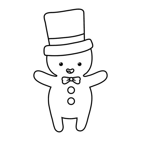 gingerbread man with hat decoration merry christmas vector illustration line style Ilustracja
