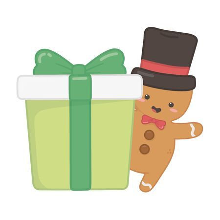 gingerbread man with hat and gift decoration merry christmas vector illustration
