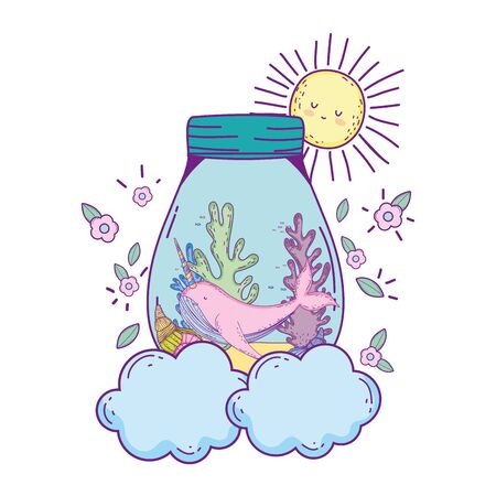 cute narval in mason jar in clouds vector illustration design Ilustrace