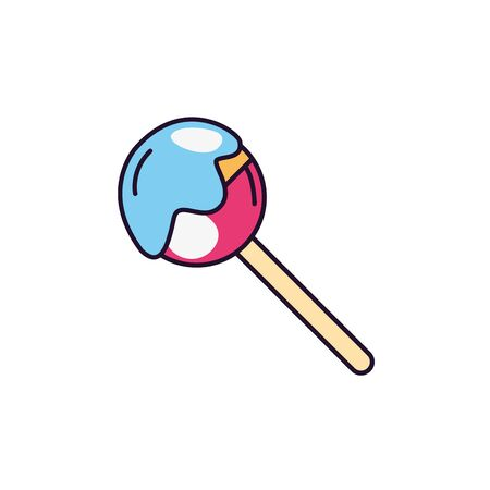 melted lollipop sweet and candies icon line fill illustration