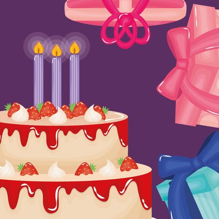 happy birthday card with gifts and cake vector illustration design