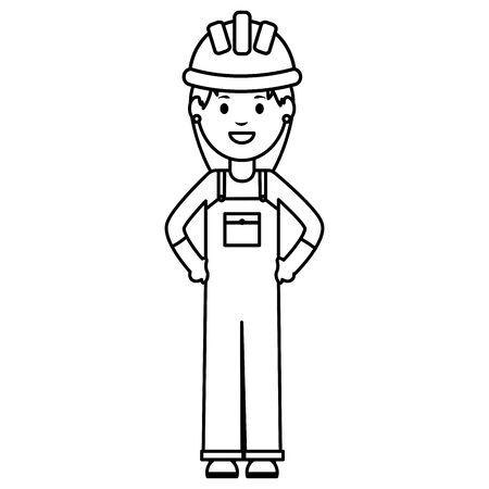 female builder worker with helmet vector illustration design
