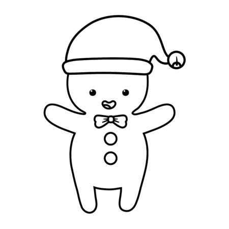 gingerbread man with hat decoration merry christmas line style Ilustracja