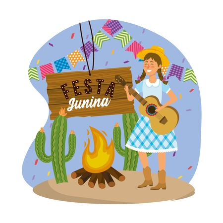 woman wearing hat with guitar and party banner vector illustration Illusztráció