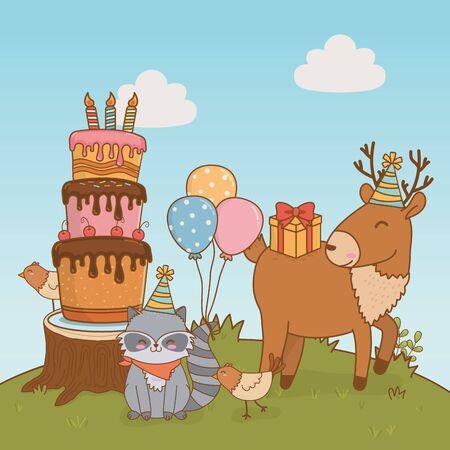 birthday card with cute animals woodland vector illustration design Çizim