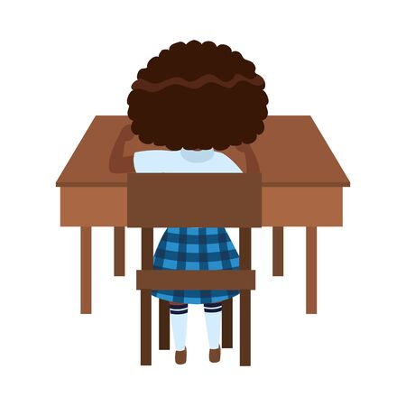 Girl kid in desk design, School education learning knowledge study and class theme Vector illustration  イラスト・ベクター素材