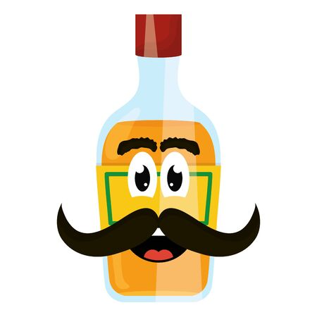 tequila bottle with mustache character vector illustration design