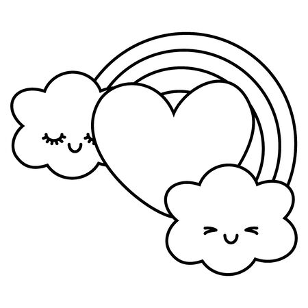 heart and rainbow with clouds icon cartoon black and white vector illustration graphic design