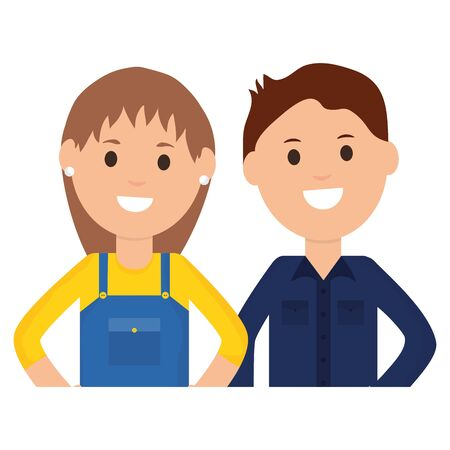 female builder worker with young man vector illustration design  イラスト・ベクター素材