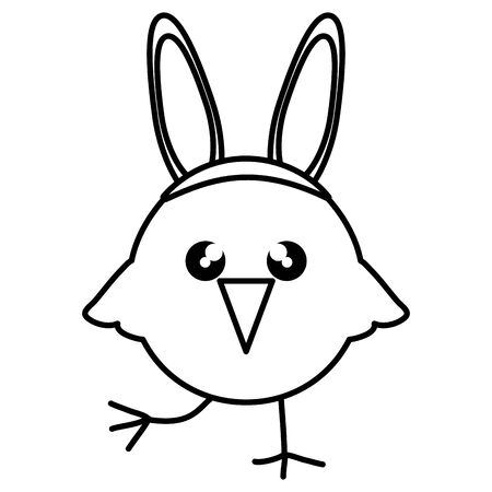 cute little chick with rabbit ears easter character vector illustration design