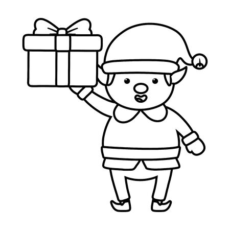 helper holding gift box decoration merry christmas line style