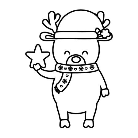 reindeer with scarf and hat star decoration merry christmas line style Banque d'images - 131491949