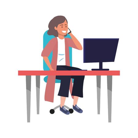 Millenial person stylish outfit sitting in work desk using smartphone procrastination vest vector illustration graphic design