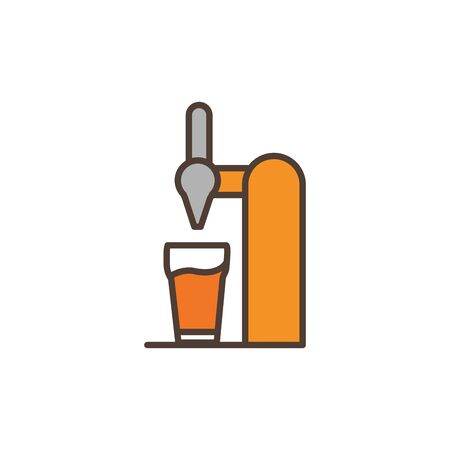 beer dispenser oktoberfest icon line filled vector illustration