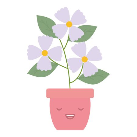 garden flowers plant in pot kawaii character vector illustration design
