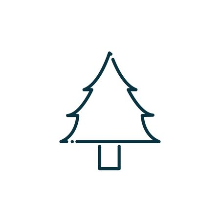 pine tree happy christmas line icon vector illustration