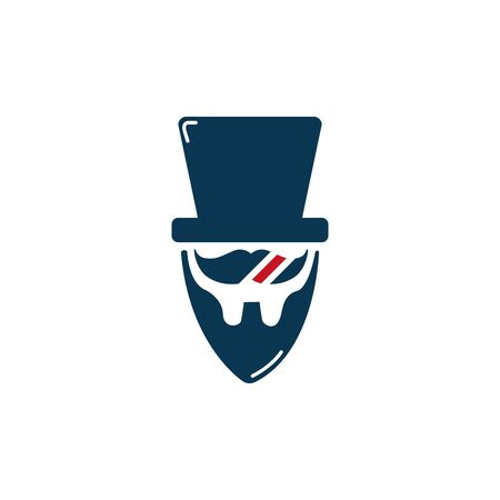 barber shop moustache beard and hat accessory icon design illustation