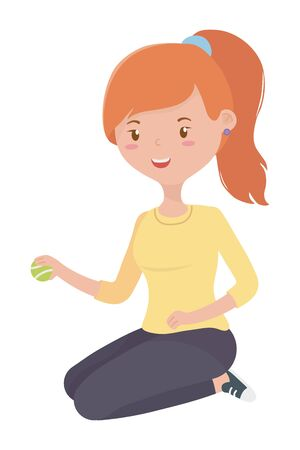 Teenager girl with tennis ball design, Female people young teen beautiful and woman theme Vector illustration