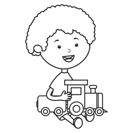 cute little boy with train vector illustration design
