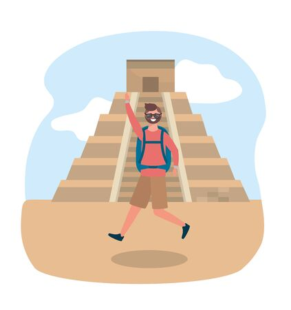 travel man wearing sunglasses with backpack and temple inscription vector illustration Ilustração
