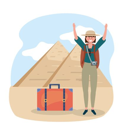 woman wearing hat with backpack and egyptian pyramid vector illustration