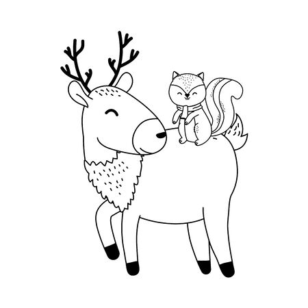 cute reindeer with chipmunk woodland character Ilustrace