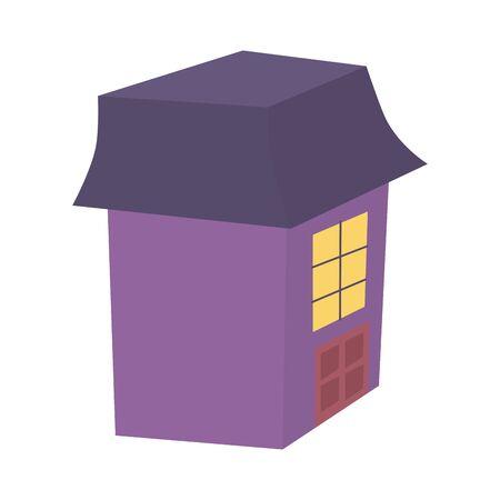 rickety house trick or treat happy halloween vector illustration